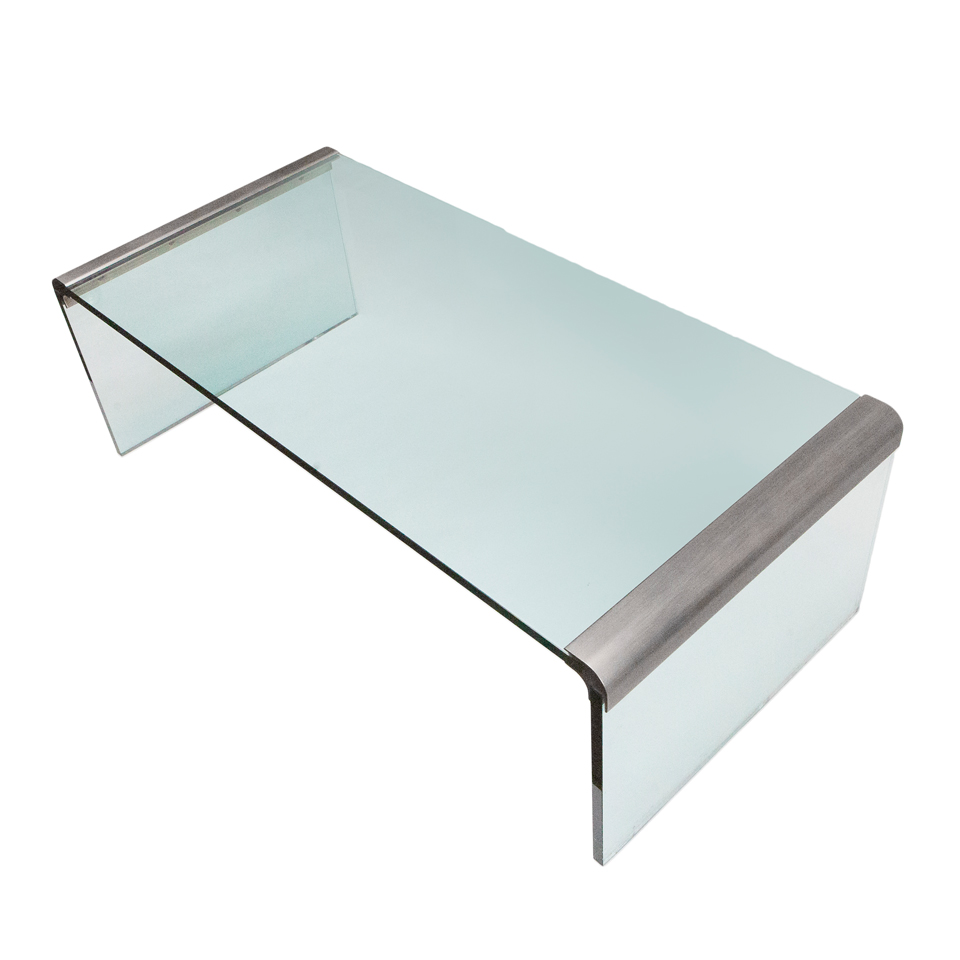 Brushed Nickel Glass Coffee Table Donald Krochmal Design
