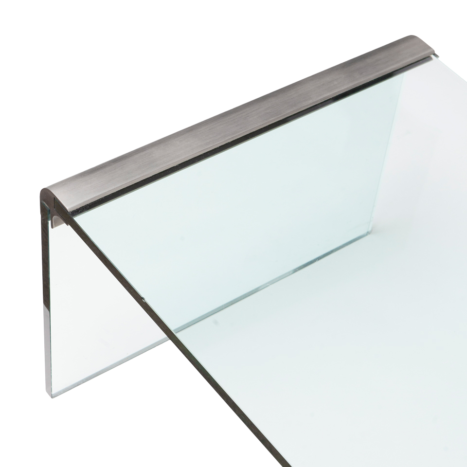 brushed nickel & glass coffee table – donald krochmal design